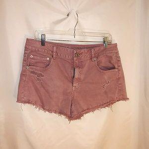 Blush Pink Distressed American Eagle Shorts